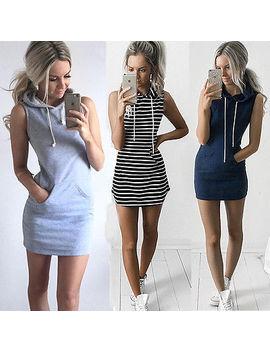 2017 New Ladies Slim Sleeveless Bodycon Clubwear Bandage Mini Dress Womens Hoodie Tops #Lx by Thefound