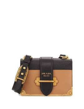 Cahier Notebook Shoulder Bag, Caramel/Black (Caramel/Nero) by Prada