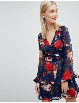 Lipsy Tiered Ruffle V Neck Dress In Floral by Lipsy