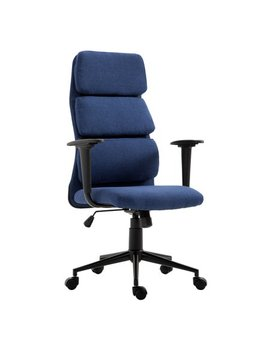 Homcom Lumbar Support Desktop Computer Chair With Arms   Navy Blue by Homcom