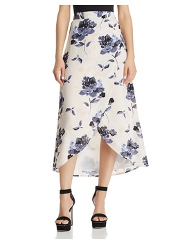 Floral Print Faux Wrap Skirt   100 Percents Exclusive  by Olivaceous