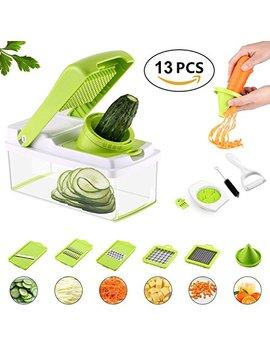 Vegetable Slicer 13 In 1 Mandoline Slicer Cutter Set 8 Blades Veggie Fruits Pasta Cheese Chopper Peeler Julienne Grater Dicer Lemon Squeezer With... by Businesscastle