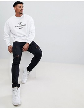 Asos Design Sweatshirt With Embroidered French Text In White by Asos Design