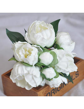Real Touch White Ivory Peonies Bridal Bouquets, Bridesmaids Bouquets, Peonies Wedding Flowers Centerpieces,Real Touch Bouquet by Etsy