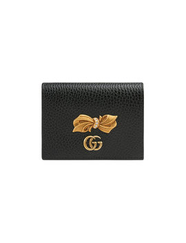 Leather Card Case With Bow by Gucci