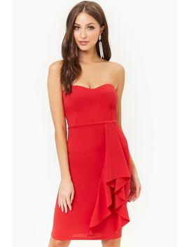 Ruffle Trim Tube Dress by Forever 21