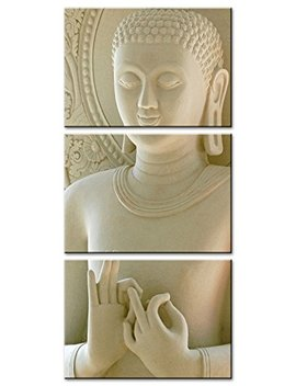 Moco Art 3 Panels Canvas Wall Art Buddha Painting White Marble Buddha Canvas Painting Giclee Artwork For Home Living Room Decor Stretched And Framed Ready To Hang by Moco Art