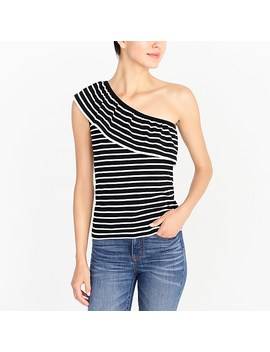 Striped One Shoulder Ruffle Sweater by J.Crew