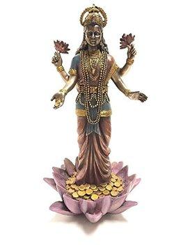 Lakshmi Hindu Goddess On Lotus Statue Sculpture by Ytc