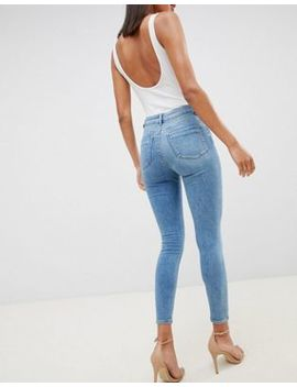 Asos Design Ridley High Waist Skinny Jeans In Pretty Mid Stonewash Blue by Asos Design