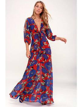 blossoming-beauty-red-floral-print-long-sleeve-maxi-dress by lulus
