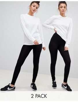 Asos Design Tall 2 Pack High Waisted Leggings In Black Save 10 Percents by Asos Design