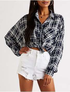 Plaid Collared Hi Low Top by Charlotte Russe