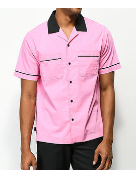 Empyre Daniel Pink & Black Button Up Bowling Shirt by Empyre