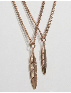 Mister Feather Necklace In Rose Gold by Mister
