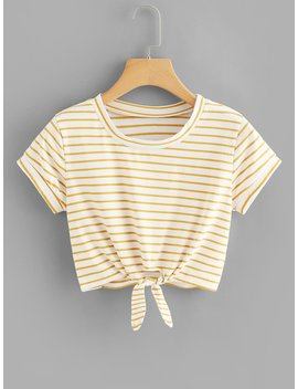 Knot Front Striped Crop Tee by Romwe