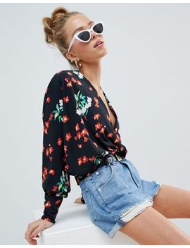 Asos Design Batwing Plunge Top In Floral Print by Asos Design
