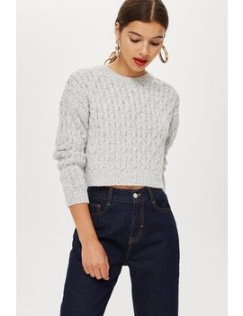 Circle Stitch Cropped Jumper by Topshop