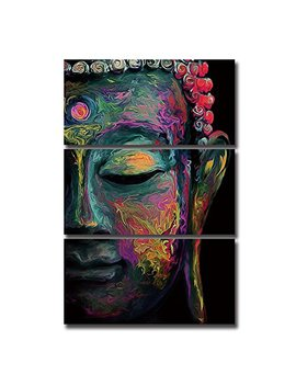 Shuaxin Modern Large Buddha Wall Art Print On Canvas Home Living Room Decorations Wall Art 3 Panel 16x32inch (Framed Ready To Hang) by Shua Xin