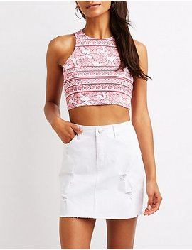 Printed Muscle Tank Crop Top by Charlotte Russe