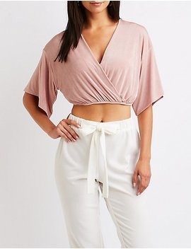 Kimono Sleeve Wrap Crop Top by Charlotte Russe