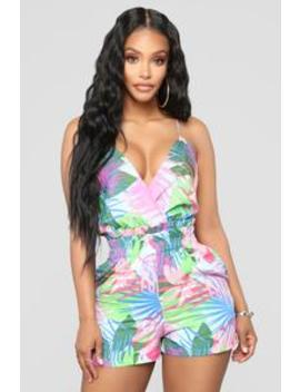 Day At The Beach Tropical Romper   Mint Multi by Fashion Nova