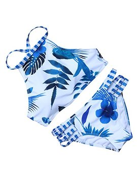 Ruuhee Women Cut Out Vintage Padded Solid Color Two Piece Bikini Bathing Suits by Ruuhee