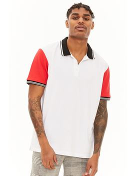 Striped Trim Colorblock Polo by Forever 21