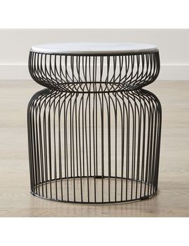 Spoke Marble End Table by Crate&Barrel