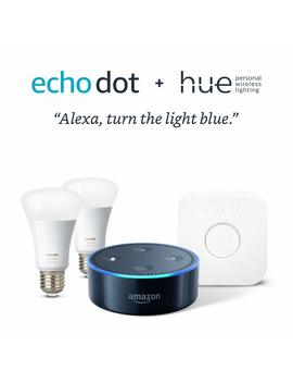 Echo Dot   Black + Philips Hue 2 Color Bulb Starter Kit by Philips