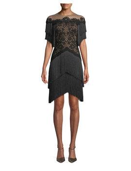 Short Dress W/ Lace Bodice & Fringe Skirt by Tadashi Shoji