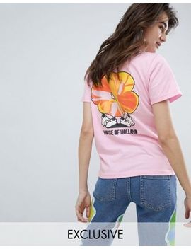 House Of Holland Exclusive Flower Slogan T Shirt by House Of Holland