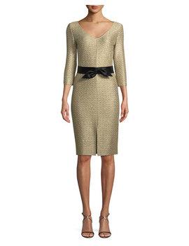 Glamour Sequin Knit V Neck Dress by St. John Collection