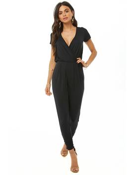Mock Wrap Ruched Jumpsuit by Forever 21