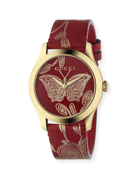 G Timeless Embroidered Butterfly Watch W/ Leather Strap by Gucci