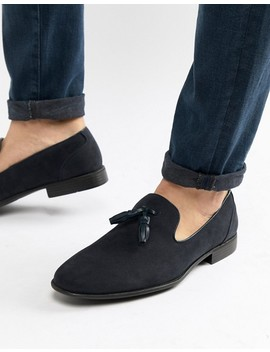 Asos Design Tassel Loafers In Navy Faux Suede by Asos Design