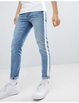 Criminal Damage Skinny Jeans In Blue With Taping by Criminal Damage's
