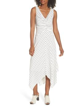 Stripe Ruched Handkerchief Hem Dress by Maggy London
