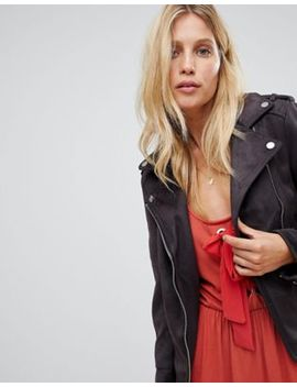 Warehouse Biker Check In Faux Suede In Washed Black by Warehouse