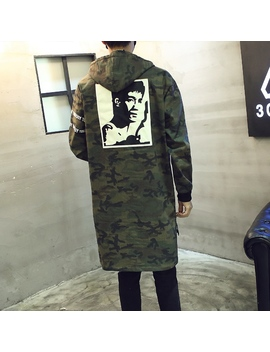 New 2017 Spring Camouflage Long Trench Coat Men With A Hood Chinese Style Character Print Male Denim Overcoat Manteau Homme /Fy3 by Ali Express
