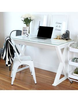 "48"" White Glass Metal Computer Desk by Pier1 Imports"