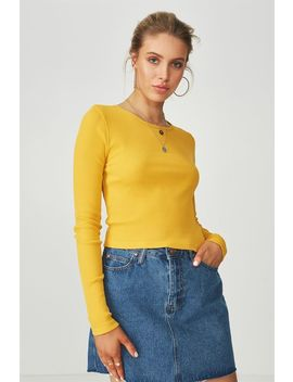 Long Sleeve Fitted Rib Top by Cotton On
