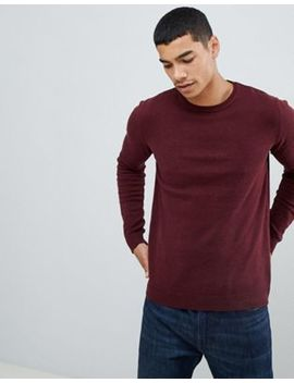 Pull&Bear Knitted Join Life Jumper In Burgundy by Pull&Bear