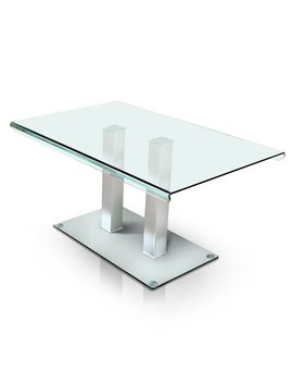 Furniture Of America  Ezreal Silver Finish Tempered Glass And Metal Contemporary Dining Table by Furniture Of America