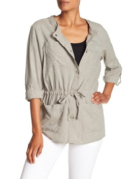 Linen Blend Drawstring Waist Jacket by Joe Fresh