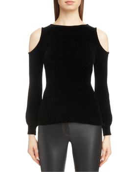 Cold Shoulder Chenille Sweater by Loewe