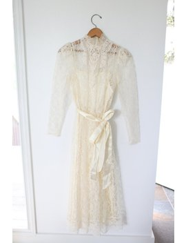 Vintage Edwardian Cream Lace  Gown Dress With Sash by Etsy