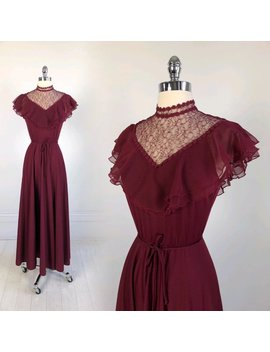 Vintage 1970s Victorian Maxi Dress Lace And Ruffle With Tie Belt High Collar Burgundy Xs S 70s Long Edwardian by Etsy