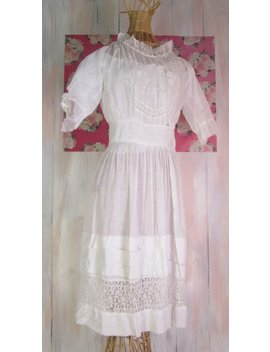 Vintage Edwardian Summer Dress  Ruffled White Lawn  Size Small/Medium by Etsy