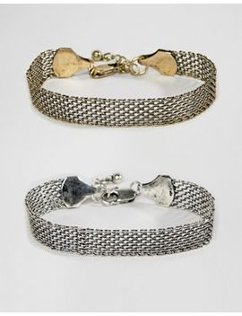Asos Design Mesh Bracelet Set In Burnished Mixed Metals by Asos Design